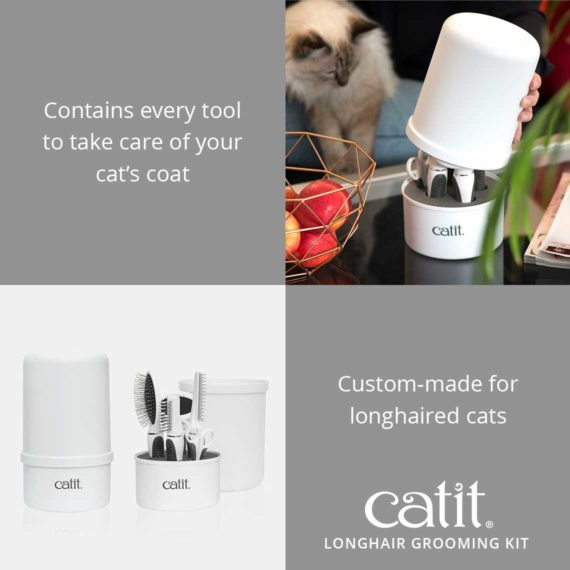 Catit longhair grooming kit contains every tool to take care of your cat's coat