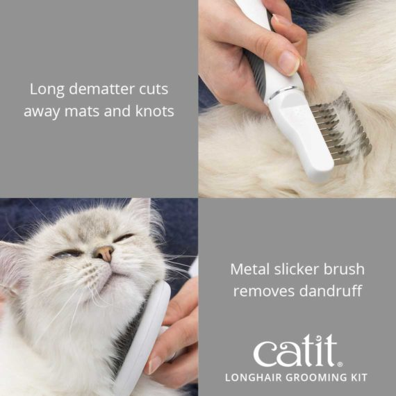 Catit longhair grooming kit cuts away mats and knots and the metal slicker brush removes dandruff