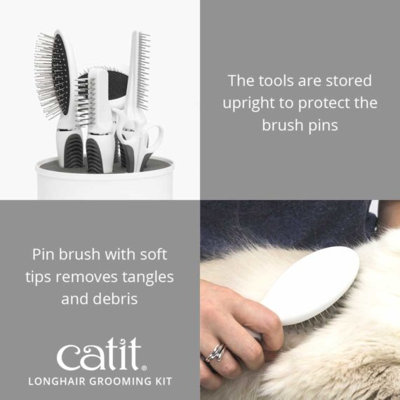 Catit longhair grooming tools are stored upright to protect the brush pins and the pin brush removes tangles and debris