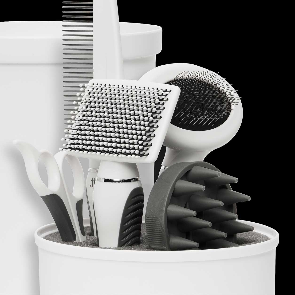 Shorthair Grooming Kit tools standing upright in container