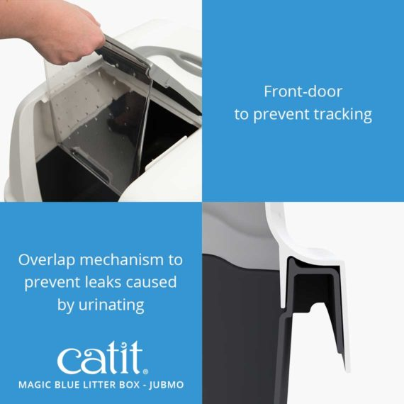 Magic blue litter box jumbo has a front door to prevent tracking and an overlap mechanism to prevent leaks caused by urinating