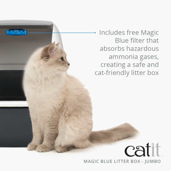 Magic blue litter box jumbo includes free magic blue filter that absorbs hazardous ammonia gases