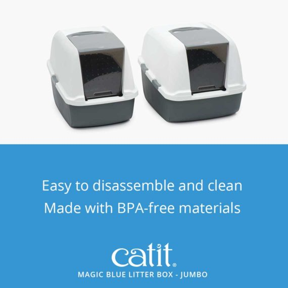 Magic blue litter box jumbo is easy to disassemble and clean and is made with bpa-free materials