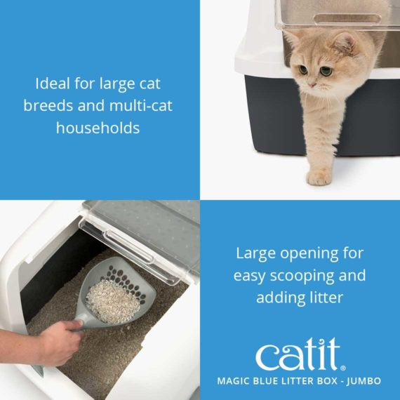 Magic blue litter box jumbo is ideal for large cat breeds and multi-cat households and has a large opening for easy scooping and adding litter