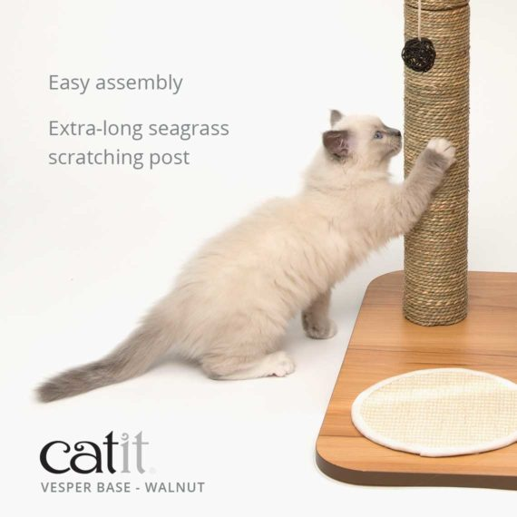 Vesper Base is easy to assemble and has an extra-long seagrass scratching post