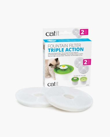 Triple Action Filter packaging with 2 filters in front on white background