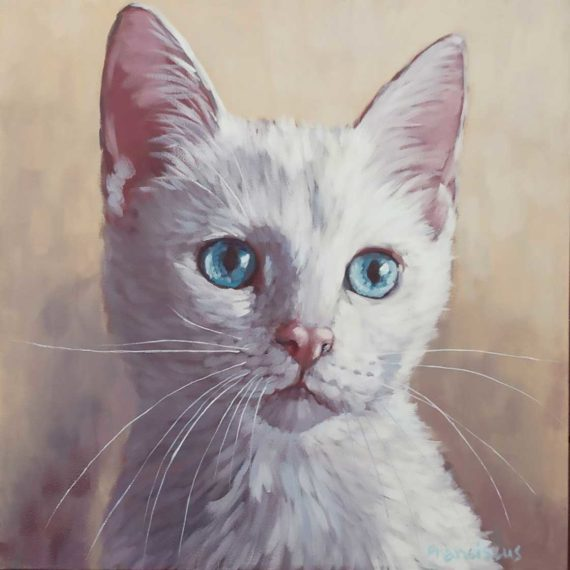 Painting of a white cat by Frank van Boxtel