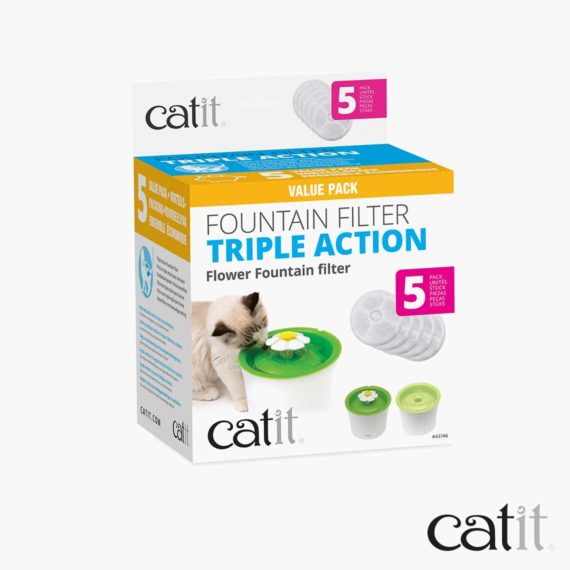 Catit triple action filter 5 pack packaging