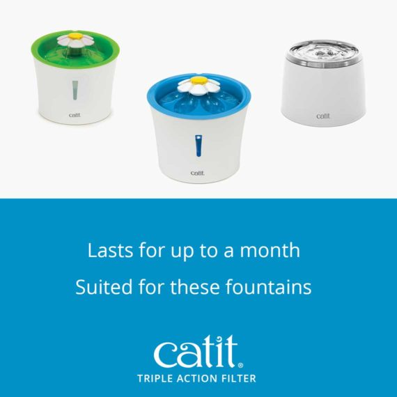 Catit triple action filter can be used with catit flower fountains and stainlesss steel fountain