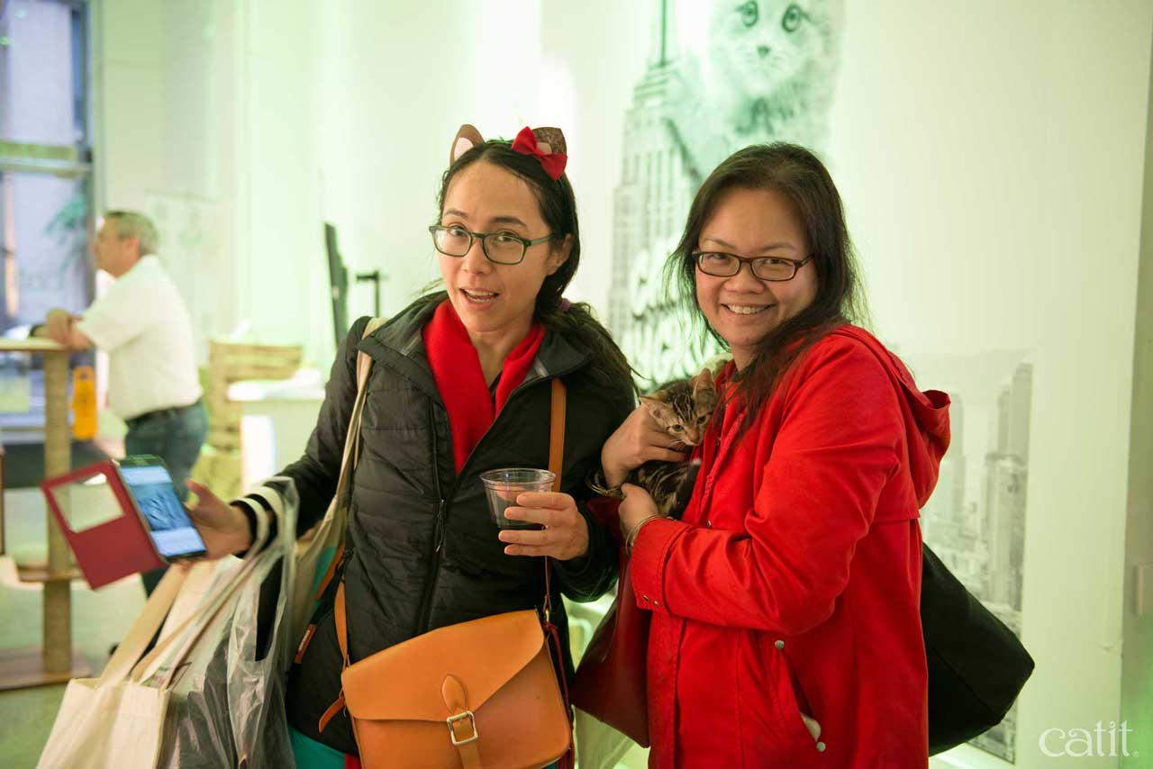 Two women posing with a kitten at Catit Playground NY