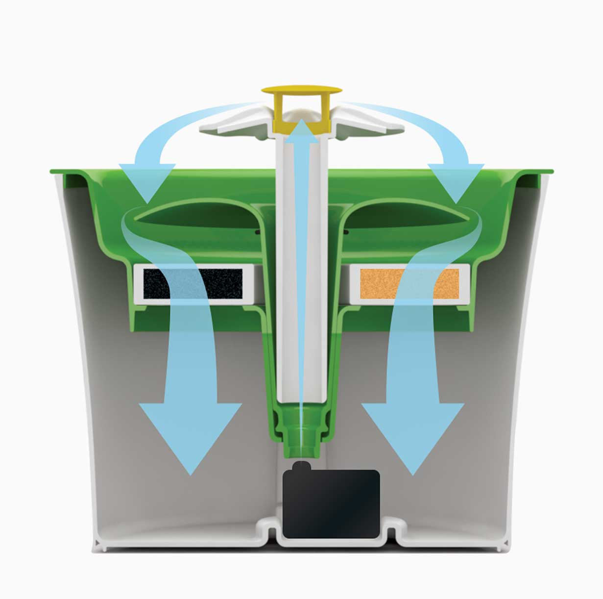 Drawing of the filtration system of the Catit Flower Fountain