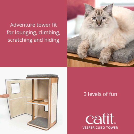 Vesper Cubo Tower is a 3-level adventure tower fit for lounging, climbing, scratching and hiding