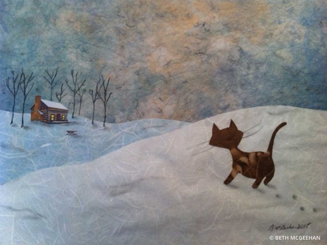 Black cat in a snowy landscape walking towards a house in the distance by Beth McGeehan