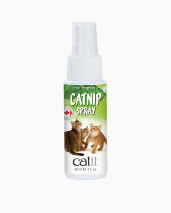 Catnip spray bottle on white background