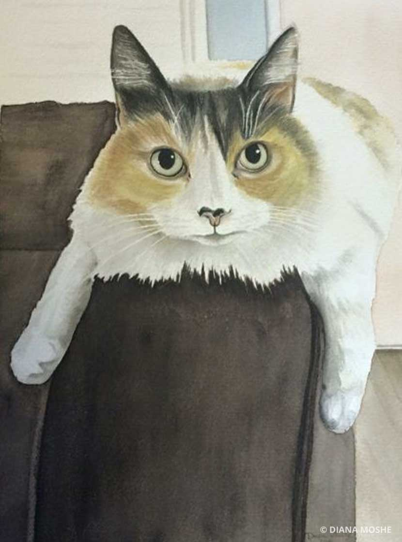 Painting of a cat lying on a sofa by Diana Moshe