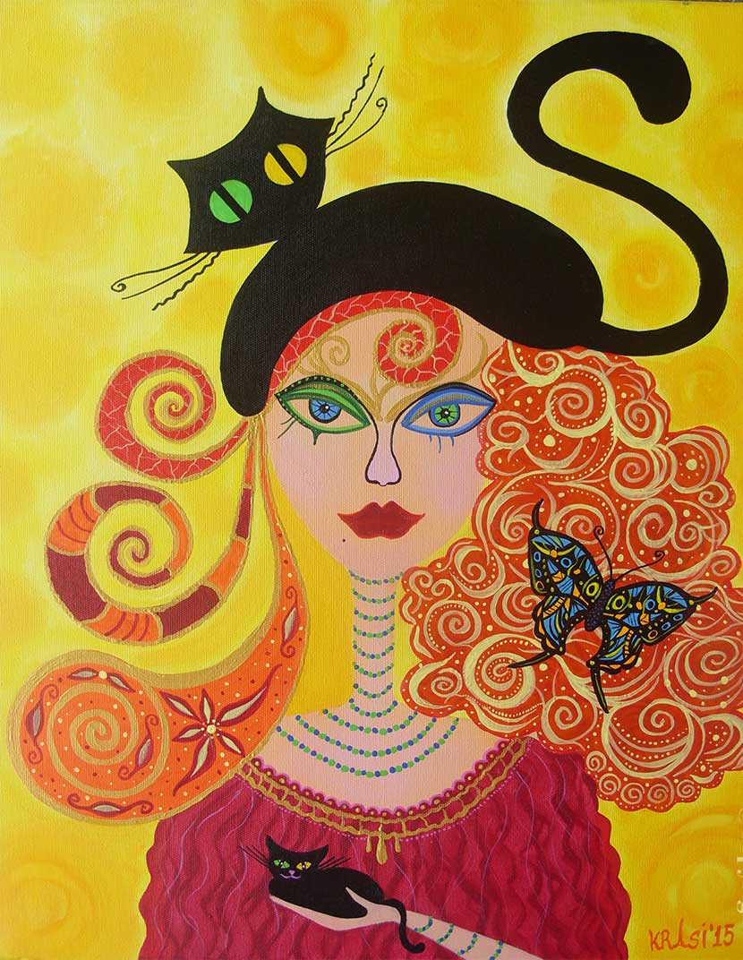Illustrative painting of a woman with a black cat on her head as a baret by Krasimira Ilcheva