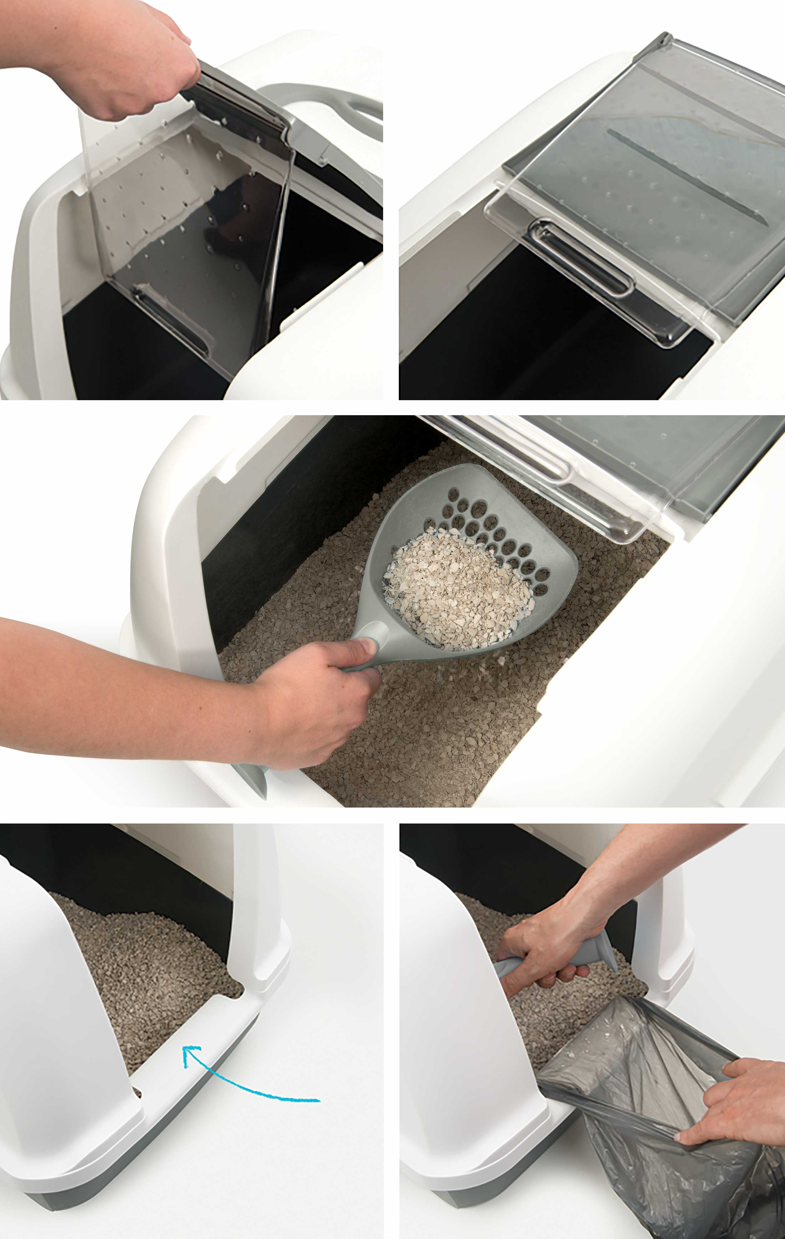 Littler box can easily be opened to remove the litter