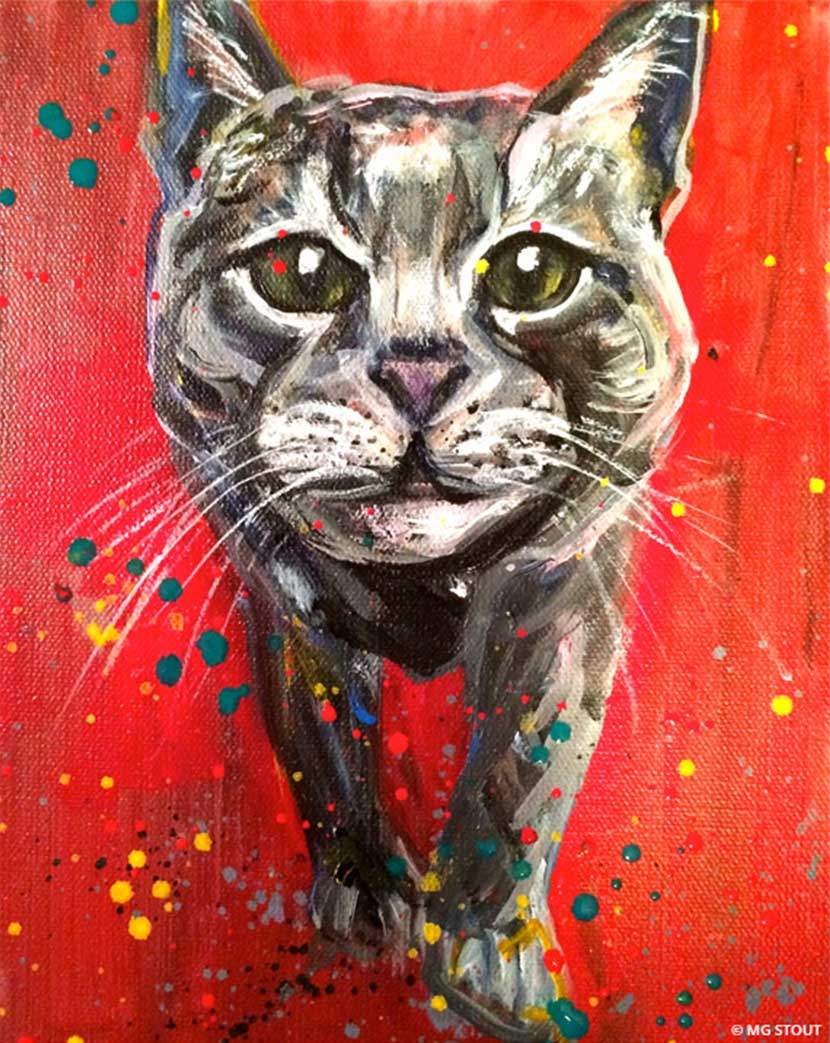 Painting of a cat on red background looking curiously by Mg Stout