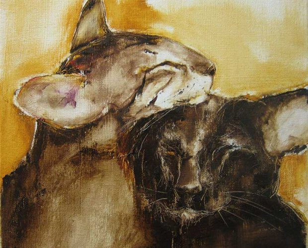 Painting of 2 short haired oriental cats snuggling by Pike Kokkonen