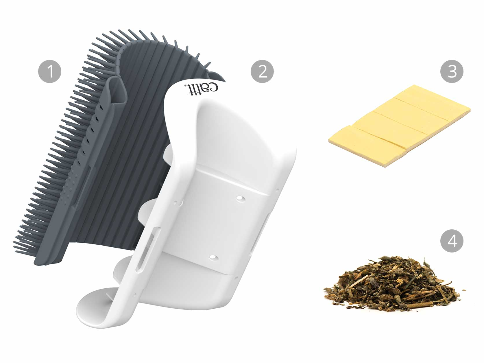All parts of the Senses 2.0 Self Groomer with catnip