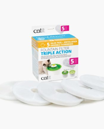 Triple action filter packaging with 5 filters lying in front of it