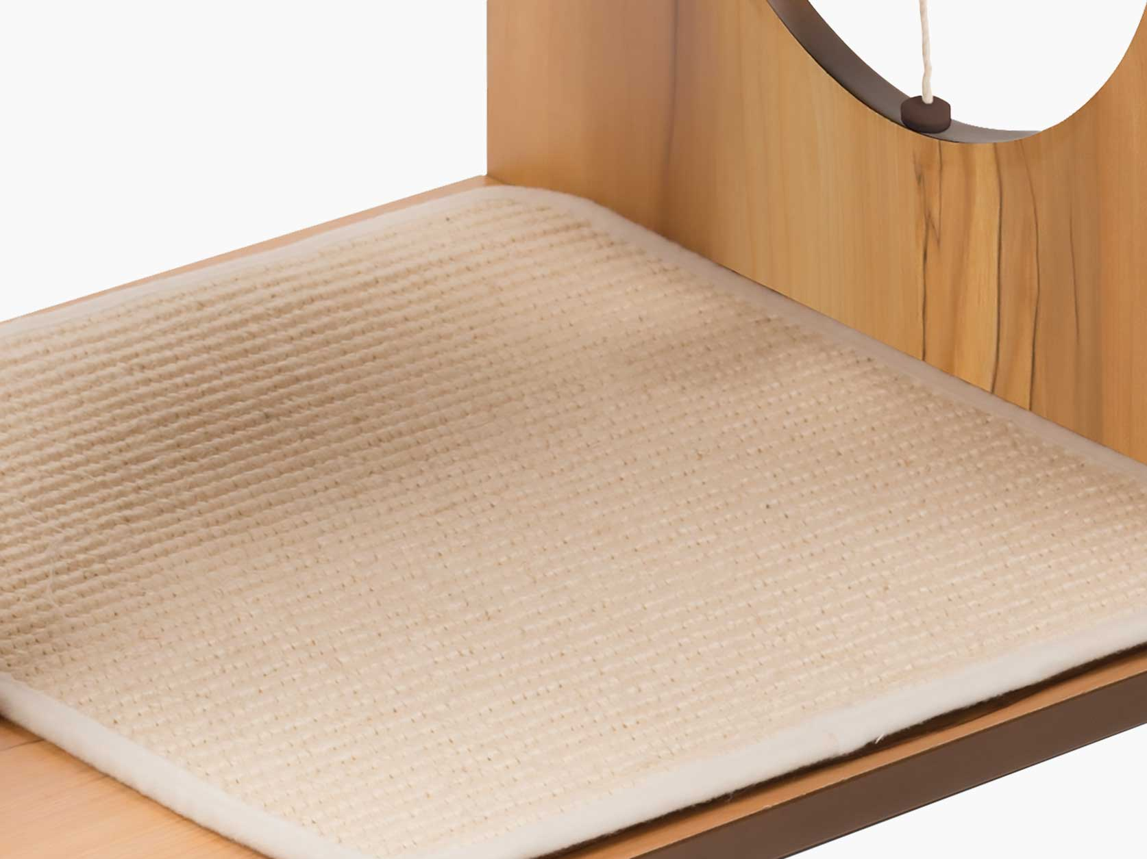 Close-up of the rugged sisal scratching mats of the Vesper Stool