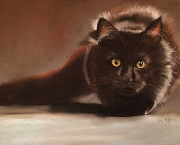 Beautiful black cat painting by Corinne Maggiore