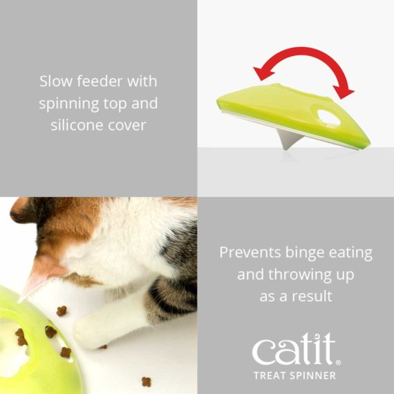 Catit Treat Spinner is a slow feeder with spinning top that prevents binge eating