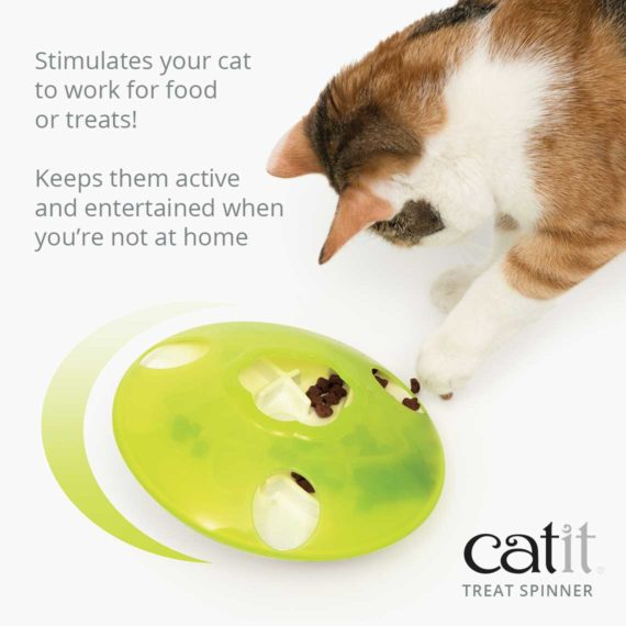 Catit Treat Spinner stimulates your cat to work for food or treats and keeps them active when you're not at home