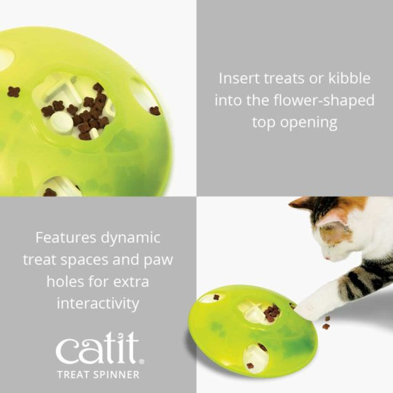 Insert treats into the flower shaped top opening of the Catit Treat Spinner