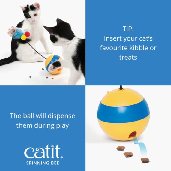 Insert your cat's kibble or treats and the Catiti Spinning Bee will dispense them during play
