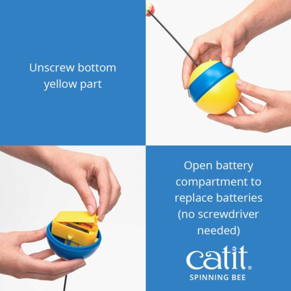 Unscrew the bottom yellow part of the Catit Spinning Bee and open the battery compartment to replace batteries