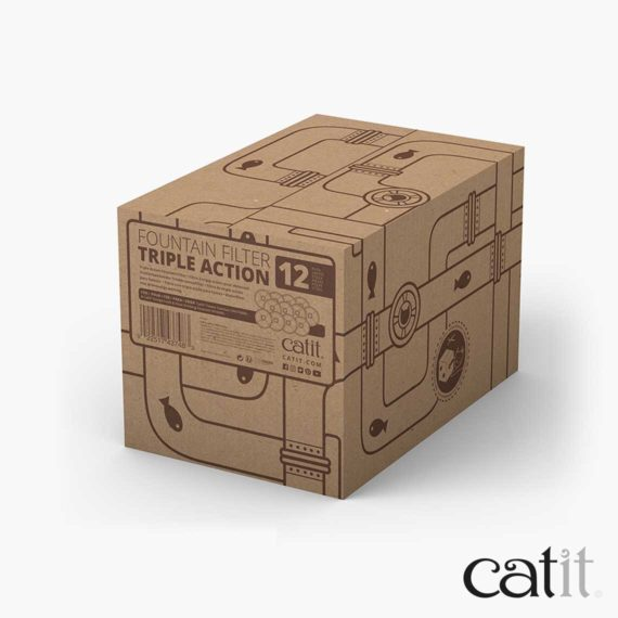 Catit triple action filter 12 pack packaging