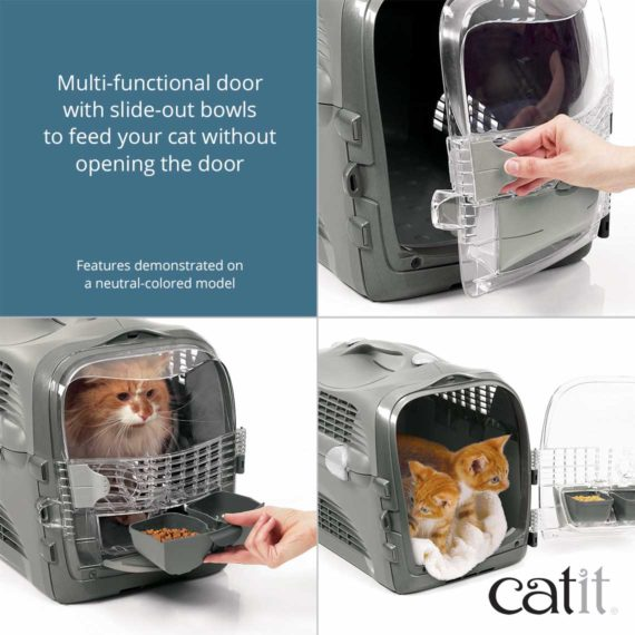 Multi-functional door with slide-out bowls to feed your cat without opening the door
