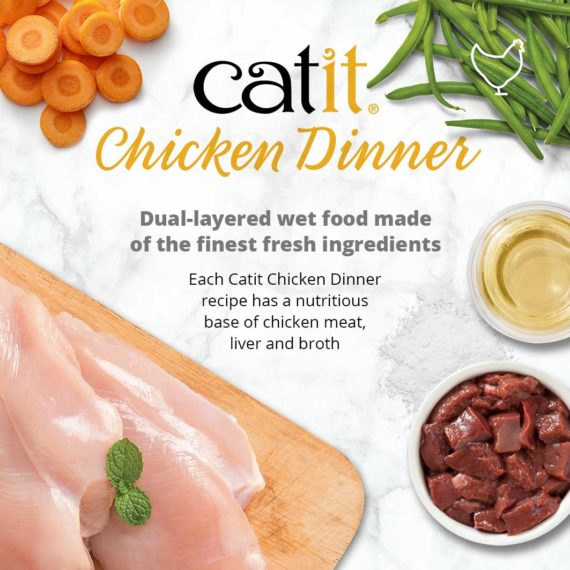 Catit Chicken Dinner - Dual-layered wet food made of the finest fresh ingredients. Each Catit Chicken Dinner recipe has a nutritious base of chick meat, liver and broth