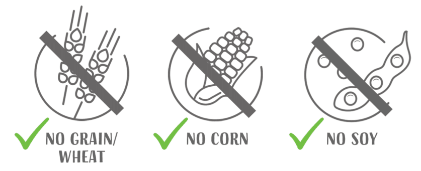 no grain - wheat - no corn - no soy