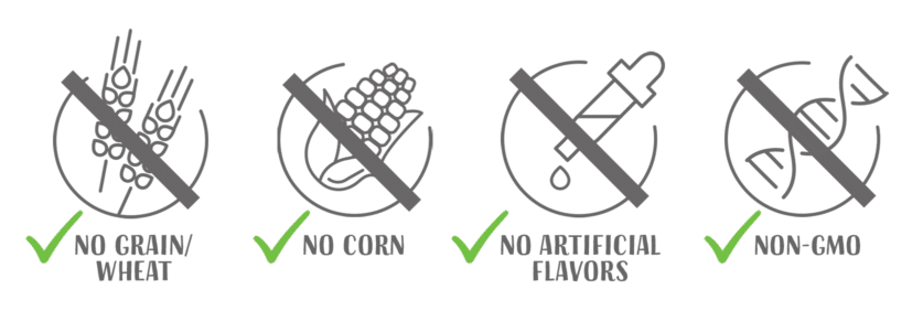 No grain wheat - no corn - no artificial flavors - non gmo