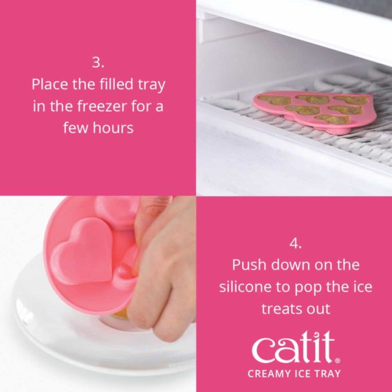 Place the filled tray in the freezer for a few hours. Push down on the silicone to pop the ice treats out.