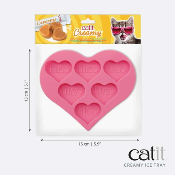 43860 - Silicone Heart-Shaped Ice Tray - product packaging & dimensionsack