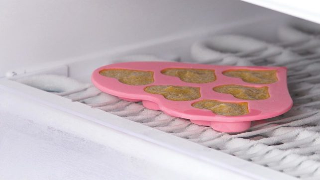 43860_Silicone Heart-Shaped Ice Cube Tray - Place the filled tray in the freezer for a few hours.