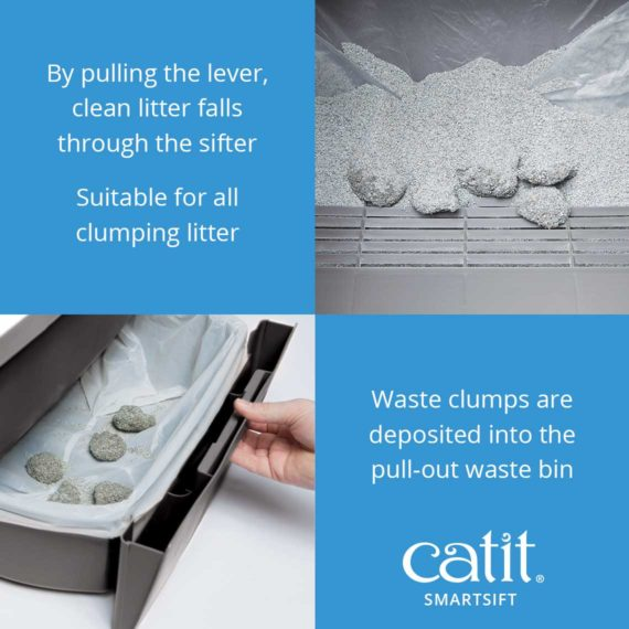 By pulling the lever clean litter falls through the sifter. Suitable for all clumping litter. Waste clumps are deposited into the pull-out waste bin