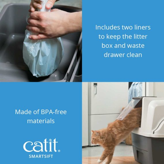 Includes 2 liners to keep the litter box and waste drawer clean. Made of BPA-free materials