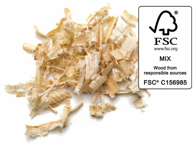 We create our litter from recycled, FSC-certified wood leftovers, plant fibers (such as corn), and natural clumping agents