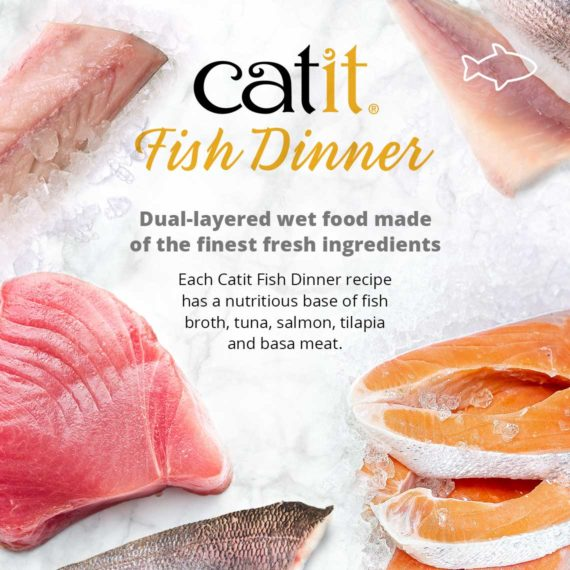 Catit Fish Dinner - Dual layered wet food made of the finest fresh ingredients. Each Catit Fish Dinner recipe has a nutritious base of fish broth, tuna, salmon, tilapia and basa meat