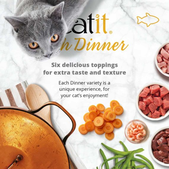Catit Fish Dinner - Six delicious toppings for extra taste and texture. Each Dinner variety is a unique experience, for your cat's enjoyment