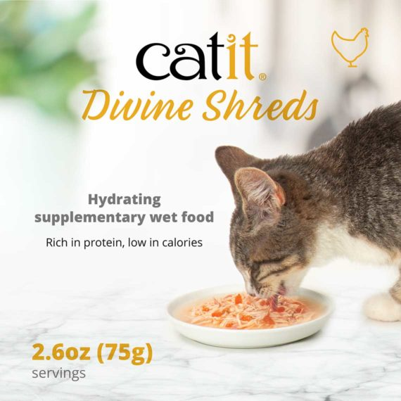 Catit Divine Shreds - Chicken - Hydrating supplementary wet food - Rich in protein, low in calories