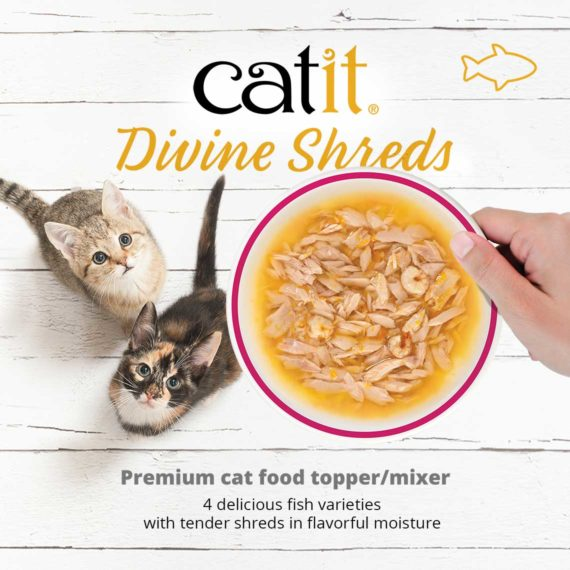 Catit Divine Shreds - Fish - Premium cat food topper/mixer - 4 delicious fish varieties with tender shreds in flavorful moisture