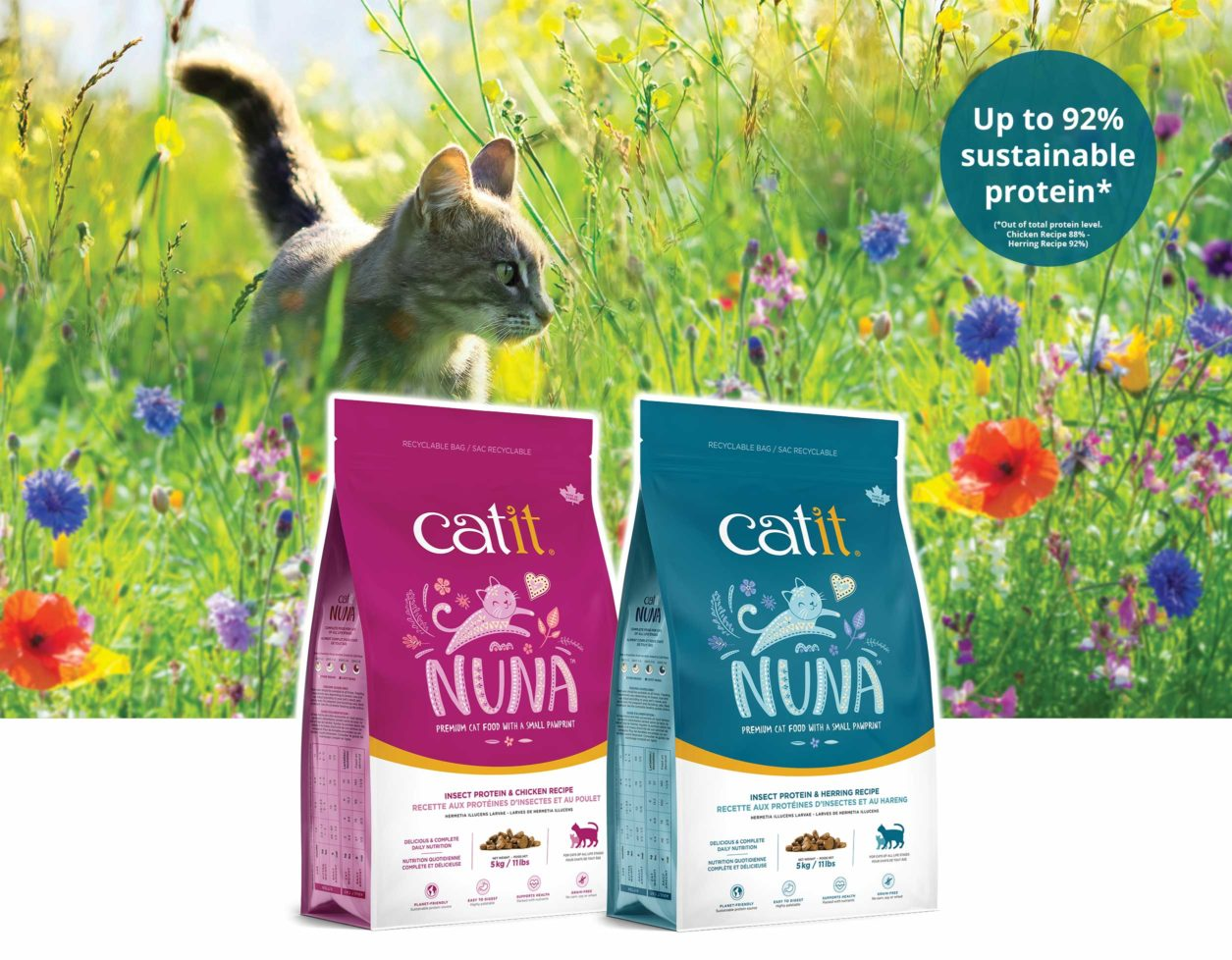 Nuna insect-based cat food - Cat in grass field - Up to 92% sustainable protein