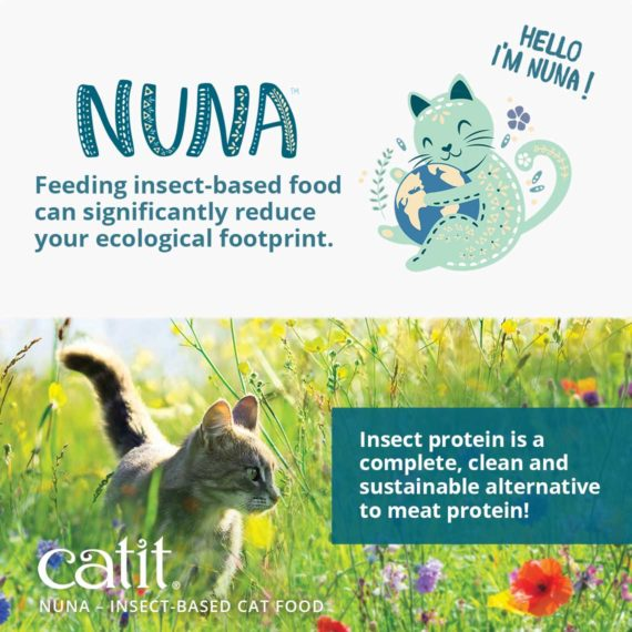 Catit Nuna - Insect-based cat food - Feeding insect-based food can significantly reduce your ecological footprint. Insect protein is a complete, clean and sustainable alternative to meat protein!