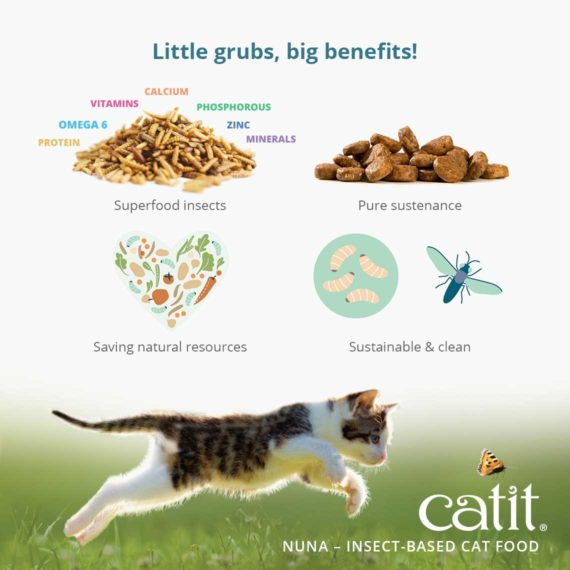 Catit Nuna - Insect-based cat food - Little grubs, big benefits! Superfood, pure sustenance, saving natural resources, sustainable & clean